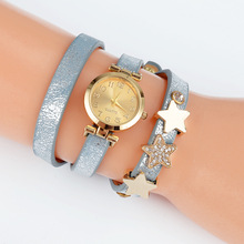 Luxury Women's Quartz Wristwatch Leopard Leather Women Bracelet Dress Watch Golden Stars Pendant Relogio Feminino Reloj Mujer