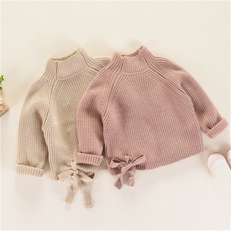 Girls Sweaters Autumn Winter 2018 Thick Turtleneck Baby Kids Sweaters Soft Warm Girl Knitted Sweater Pullover AA3169