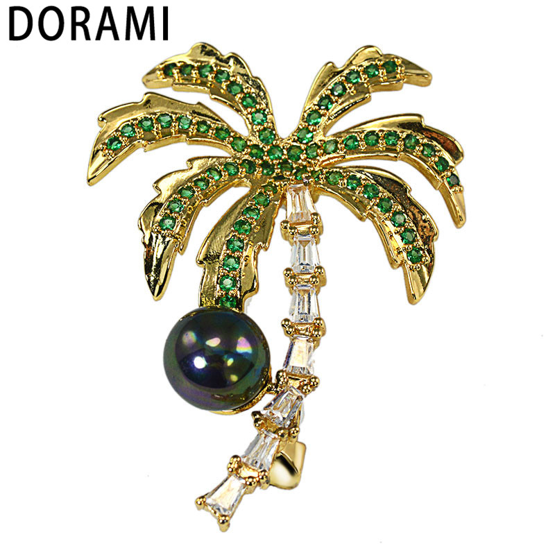 Palm-Tree-Brooches Jewelry Golden Women for with Pearl-Chest-Ornament Pin CZ Dorami Wholesale
