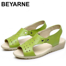 100% Cow Genuine Leather Sandals Women Flat Heel Sandals Fashion Summer Shoes Woman Sandals Summer Plus Size 43 EU Free Shipping