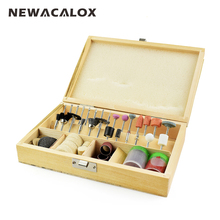 NEWACALOX Wooden Box 100pcs Rotary Tool Accessory Bit Set for Dremel Tools Multitool Grinding Kit Abrasive Tools Mini Micro