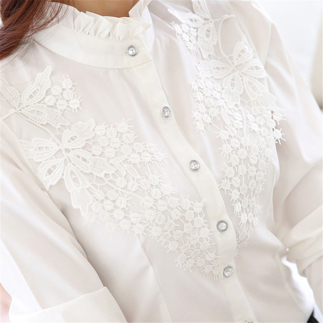 2018 stand collar top women plus size shirt Embroidery lace long sleeve white blouse shirt women's casual loose blouses mujer