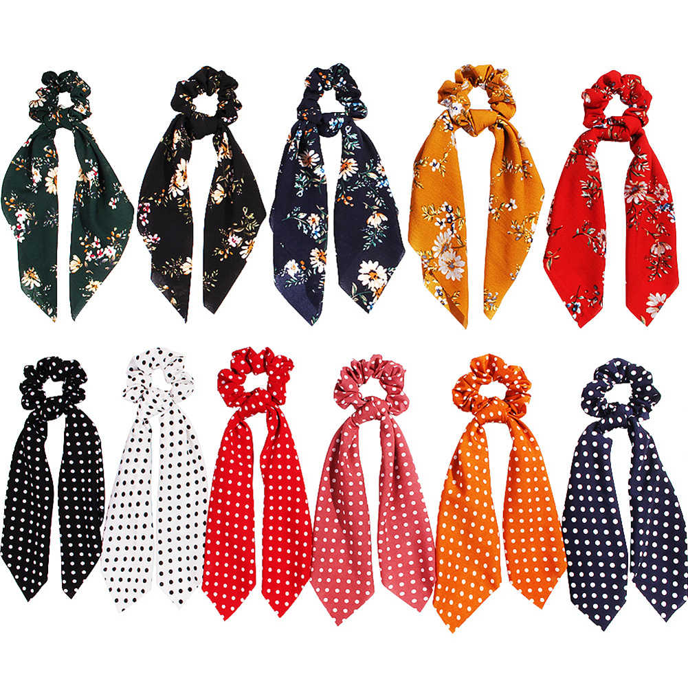 Women Hair Scarf Bowknot Leopard Snake Floral Dot Streamers Scrunchies Hair Scarf Elastic Headbands Elastic Hair Ties for Girls