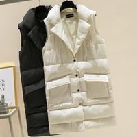 plus size 2XL Long Vest Winter Coat Women Sleeveless Down Jacket Slim Female Quilted Coat