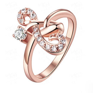 Fashion Music Mark Zircon Ring For Women Letter S Shaped Cubic