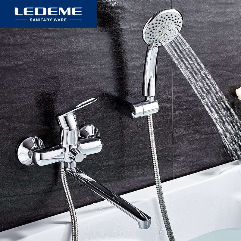 LEDEME 1 SET Bathroom Bathtub Faucets Fixture Sets Faucets Set Bath Shower Tap Bathroom Shower Set Waterfall Shower Head L2249
