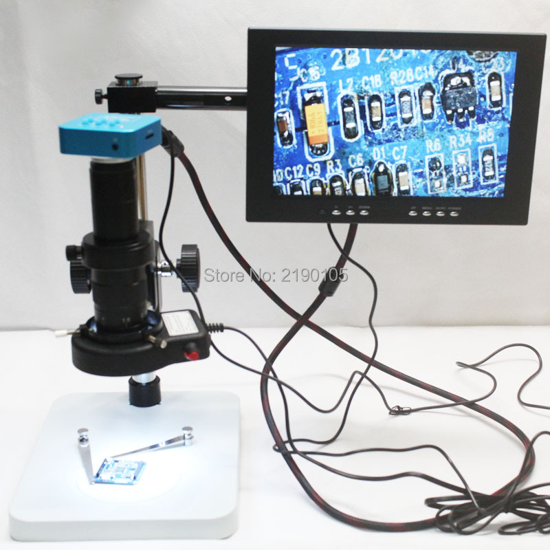 1080P 16MP Full HD 60FPS HDMI USB Output Industry Microscope Camera + 180X C-Mount Lens + Workbench + LED Light + 10 Display high quality 16mp full hd 1080p 60fps hdmi usb hd output industry c mount microscope video camera 180x 300x c mount lens 32 led