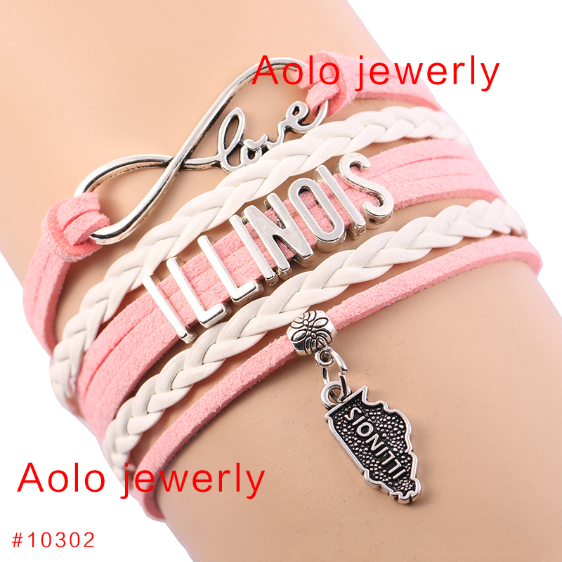 6Pcs/Lot Illinois State Geography Infinity Charm Bracelet Choose Your Color Customized Infinity Bracelet Drop Shipping! #146