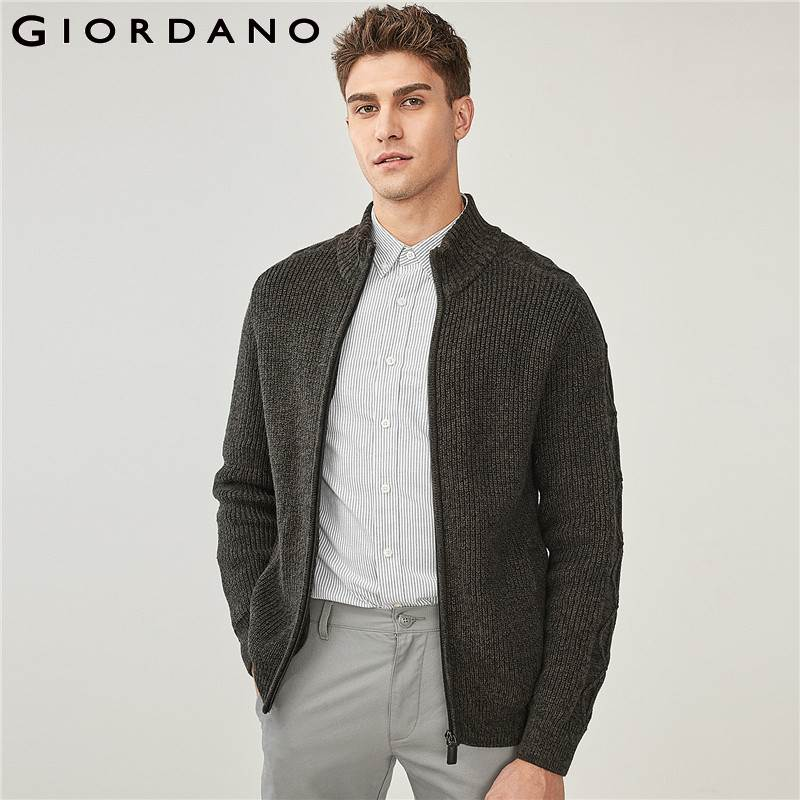 Giordano Men Cardigan Thick Cable-knit Ribbed Sweater Men Mockneck Raglan Sleeve Cardigan All-match Slant Pocket Pullover Men