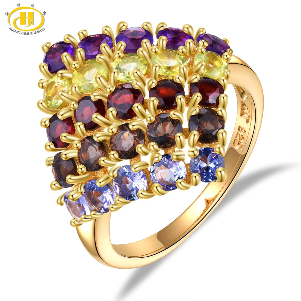 HUTANG Gemstones Rings Gold Solid 925 Sterling Silver Ring Natural Tanzanite Garnet Amethyst Fine Stone Jewelry