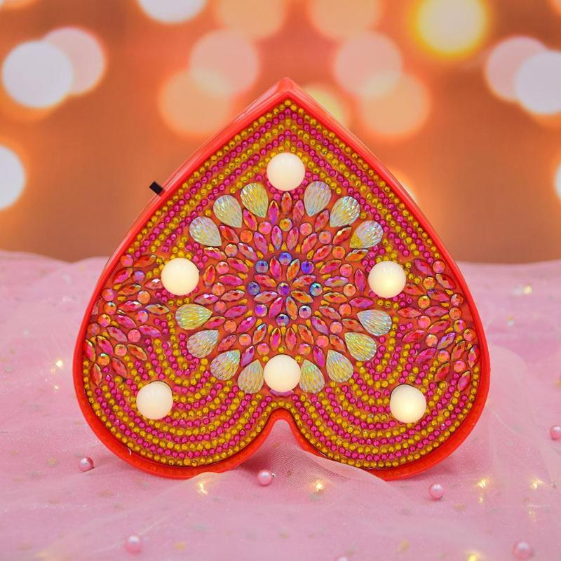 Heart Shape DIY LED Diamond Painting Cross Stitch Embroidery Lamp Full Drill LED Light For Party Wedding XMAS Home Decoration