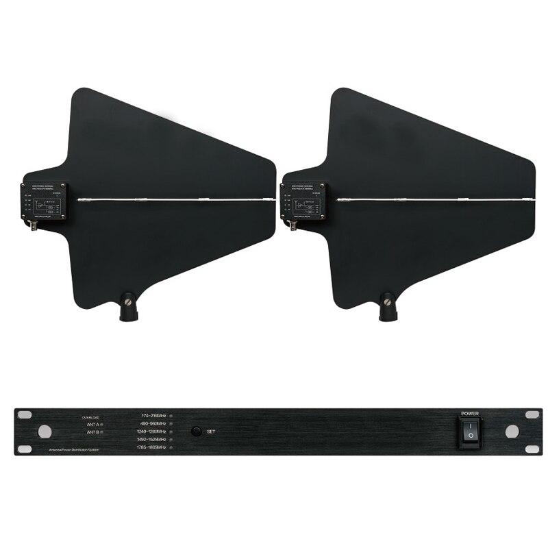 Professionale Antenna Mic Splitter Collettore Distributore amplificatore Antenna Direzionale per 4 set Sistema di Microfono Senza Fili