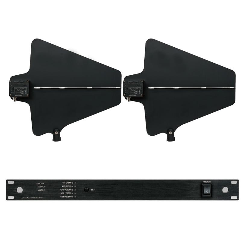 Professionnel Antenne Mic Splitter Collecteur Directionnelle Antenne Distributeur amplificateur pour 4 ensembles Sans Fil Système de Microphone