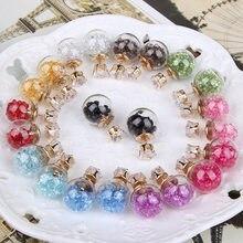 Brincos stud de longa moda femininos, brincos de vidro com esfera dupla, para mulheres 10 pares/lote