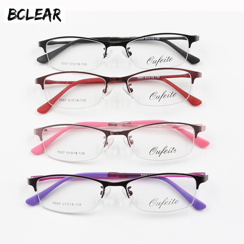 BCLEAR 2018 New Designer Women's Spectacles Frames Clear Fashion Optical Glasses Frame Female Alloy Half Rim Eyeglasses 4 Colors