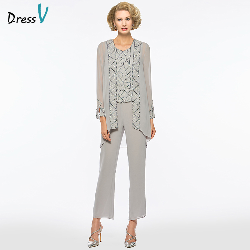 dressv long gray mother of the bride dress suit pants long sleeves sheath elegant wedding party. Black Bedroom Furniture Sets. Home Design Ideas
