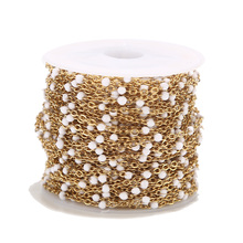 Wholesale 1 Roll/10Meters 2mm Width Stainless Steel Gold Plated Satellite Cable Beaded Ball Chain for Women Girl Necklace Making