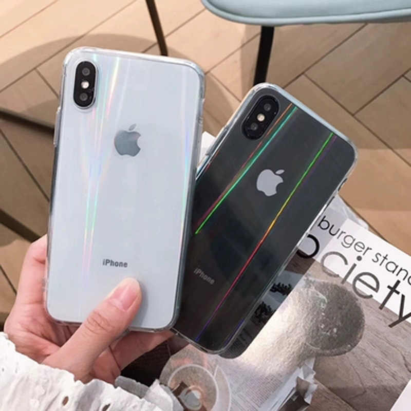 Gradient Rainbow Laser Case for iPhone XS MAX XR XS Soft Silicone Cover for iPhone  X dfe6d7028bac