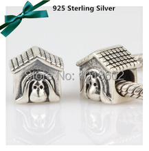 1 Pc/Lot New 925 Sterling Silver  Pendant  Pet Dog House Beads Accessories For  European Pandora Bracelet Necklace VK0783