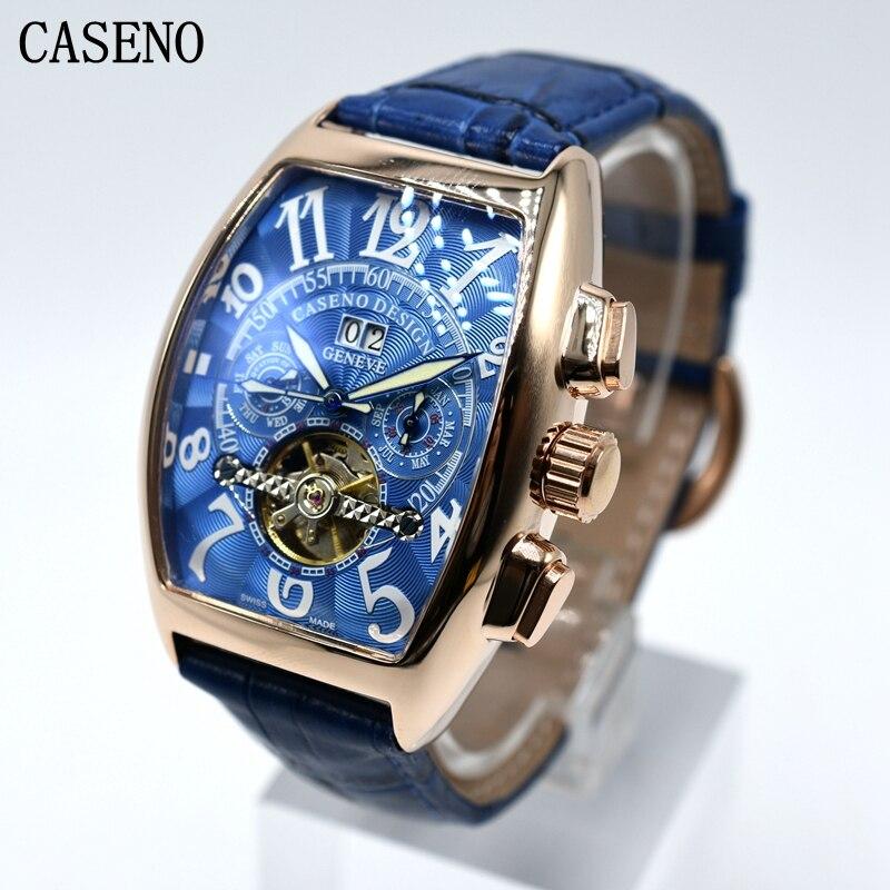 CASENO Tourbillon automatyczne mechaniczne chronografu mężczyzna skórzane Watchd szkielet mężczyzna zegarki luksusowe marki sportowe biznes zegary w Zegarki mechaniczne od Zegarki na  Grupa 1