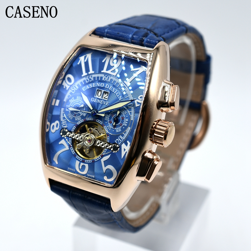 CASENO Tourbillon cronógrafo mecánico automático hombre cuero reloj esqueleto hombres relojes marca lujo deporte negocios Relojes-in Relojes mecánicos from Relojes de pulsera    1