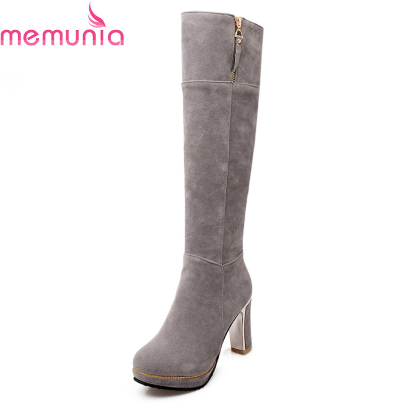 MEMUNIA large size 34-43 2017 winter warm fashion knee high boots thick high heels round toe platform solid black women boots fashion women half knee high boots solid buckle metal round toe platform wedge shoes 3 colors large size 34 43