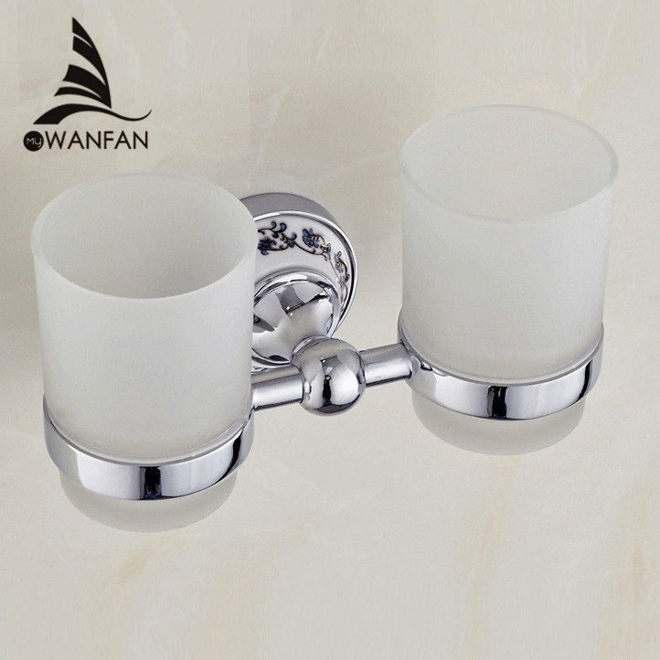 Cup & Tumbler Holders Metal Chrome Silver Toothbrush Holder With 2 Glass Cups Wall Mounted Ceramic Bathroom Accessories ST-6703 image