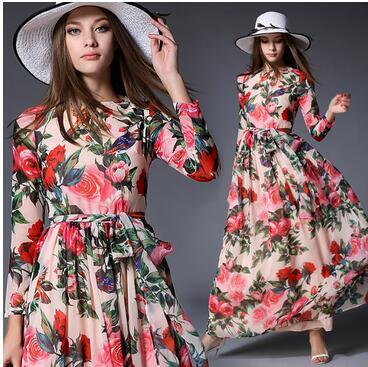 Uk New 2016 printemps eté rouge Boho Floral imprimer Bandage Maxi robe longue Casual en mousseline de soie bohême robe de plage .