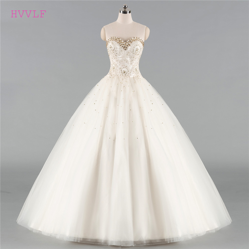 Beige Vestido De Noiva 2019 Wedding Dresses Ball Gown Sweetheart Tulle Lace Crystals Cheap Boho Wedding Gown Bridal Dresses