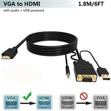 Adaptador de convertidor de VGA a HDMI con Audio de 3,5mm y puerto de carga USB para monitor HDTV proyector VGA HDMI Cable