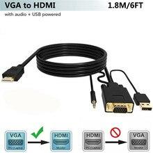 Adaptateur convertisseur VGA vers HDMI avec Port de charge Audio et USB 3.5mm pour projecteur de moniteur HDTV câble HDMI VGA