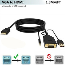 VGA TO HDMI Converter อะแดปเตอร์ 3.5 มม.และ USB ชาร์จพอร์ตสำหรับ HDTV Monitor Projector สาย HDMI VGA