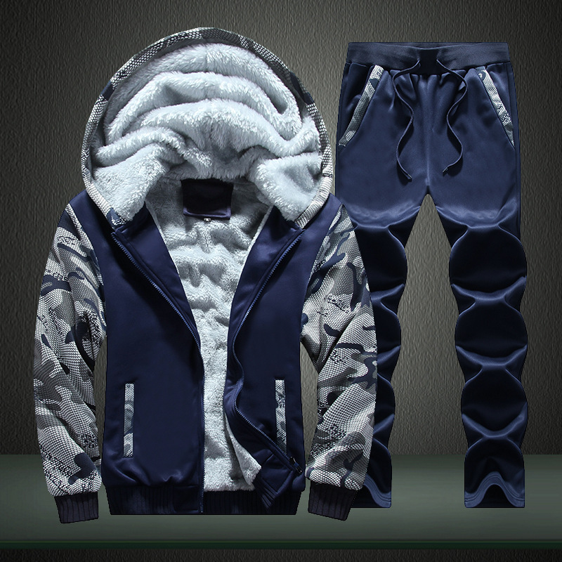 Hot men's winter clothes plus velvet thick hoodies with hat camouflage men's clothing set plus size outerwear