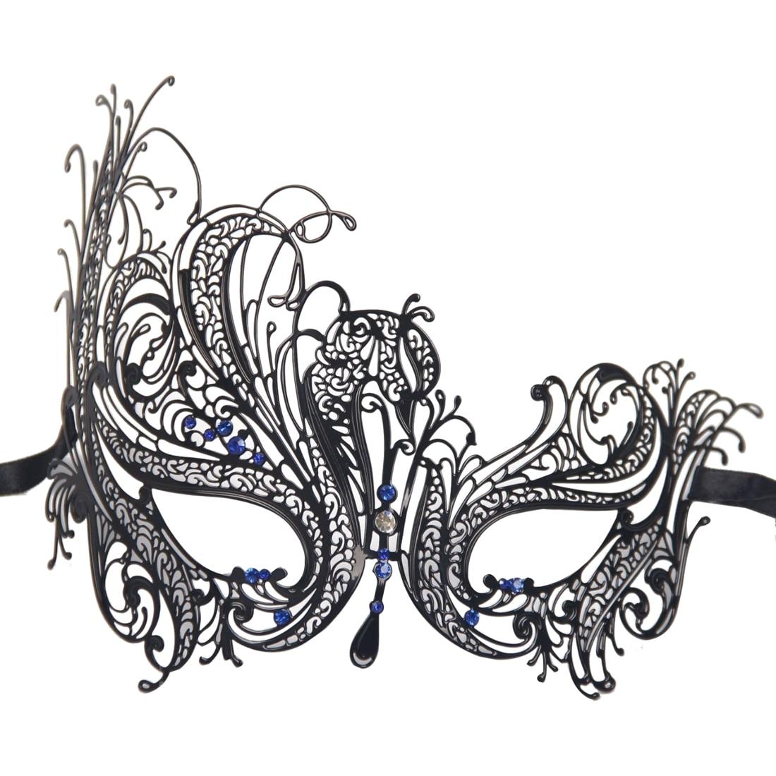 Metal Laser Cut Hollow Mask Black