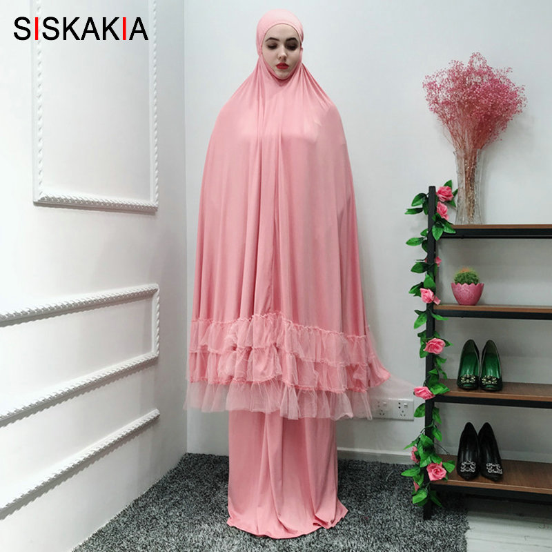 Siskakia Ramadan Must Haves Muslim Solid Fashion Weekend Abaya Dress High End Multi layer Lace Patchwork