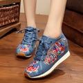 Осенью Новый Китайский Старый Пекин Вышивка обувь Туризм вышитые Цветочные обувь Мягкой прогулки танцевальная обувь размер 34-41