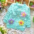 Infantis Do Bebê Meninas Casacos e Jaquetas de Primavera 2016 Crianças Da Marca Outerwear para Meninas Roupas Floral Camisolas Dos Miúdos Roupas