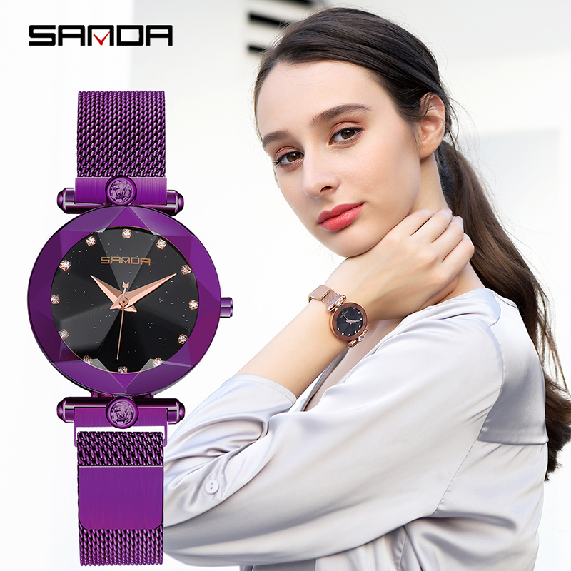 Starry Sky Women's Luxury Watch Diamond Metal Mesh Band Stainless Steel Analog Quartz Wristwatch Hot Sale 2018 Female Watches 6