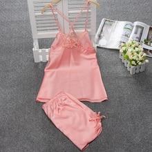 Lace Satin Women's Sexy Lingerie Set Pajamas Free Shipping Nightwear Temptation Female / Young Girls Sleepwear Set Hot Item