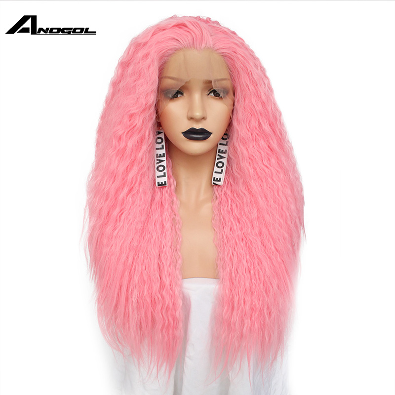 Anogol Free Part High Temperature Fiber Long Curly Red Pink Orange Yellow Blonde Mix Synthetic Lace Front Wig For Women Cosplay