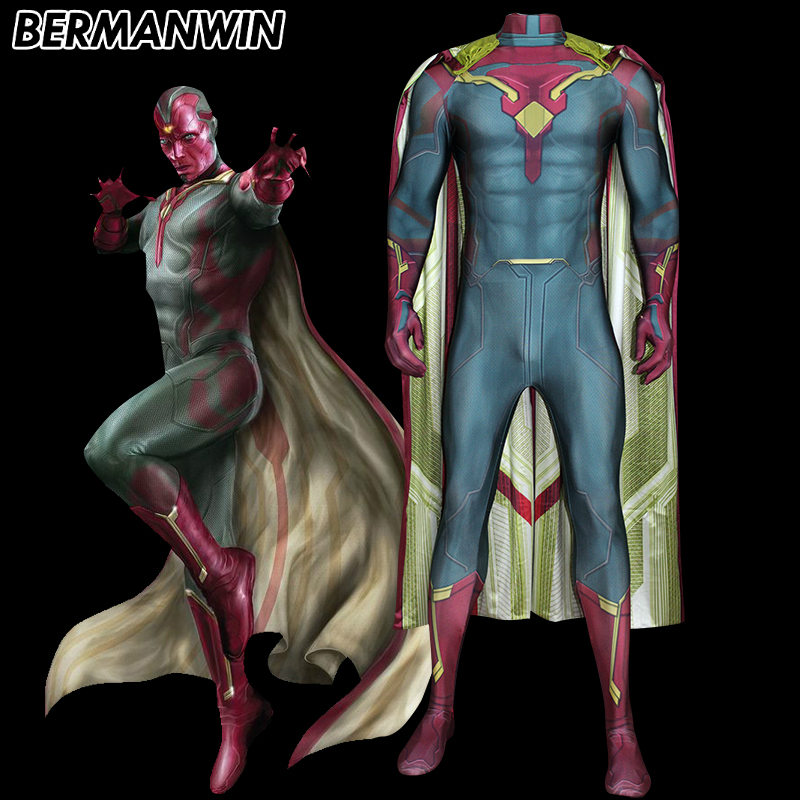 BERMANWIN High Quality Avengers Age of Ultron Cosplay Costume Vision Costume Spandex Vision Suit with Cape Cosplay Costume