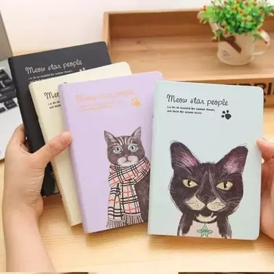 korean cute kawaii meow star people creative hardcover notebook with color papers shcool notebook diary book - Colored People Book