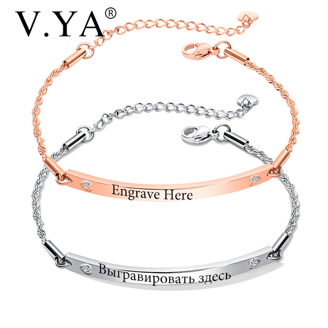 Us 3 04 40 Off V Ya Fashion Customized Bracelets For Women Stainless Steel Engraved Bracelets Rose Gold Gold Personalized Bangle For Friends In