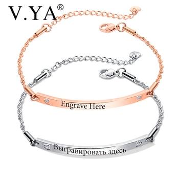 043d872978d0 V. YA pulseras personalizadas de moda para mujeres de acero inoxidable  pulseras grabadas oro rosa oro brazalete personalizado para amigos