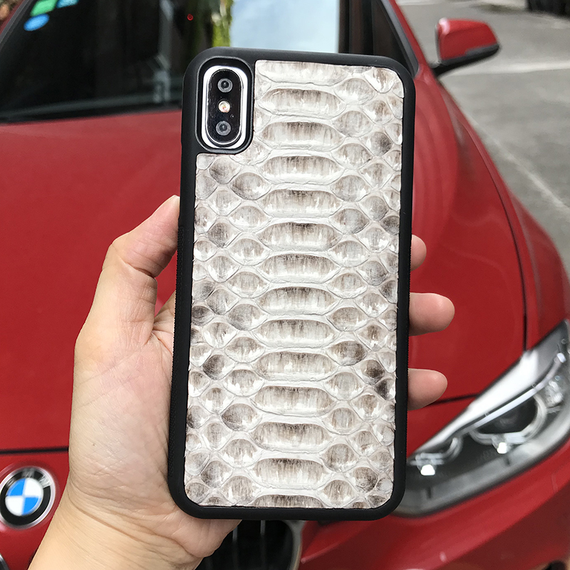 Horolgii Real Python leather Case For iPhone x 7 6 Plus Natural Color Python Design custom