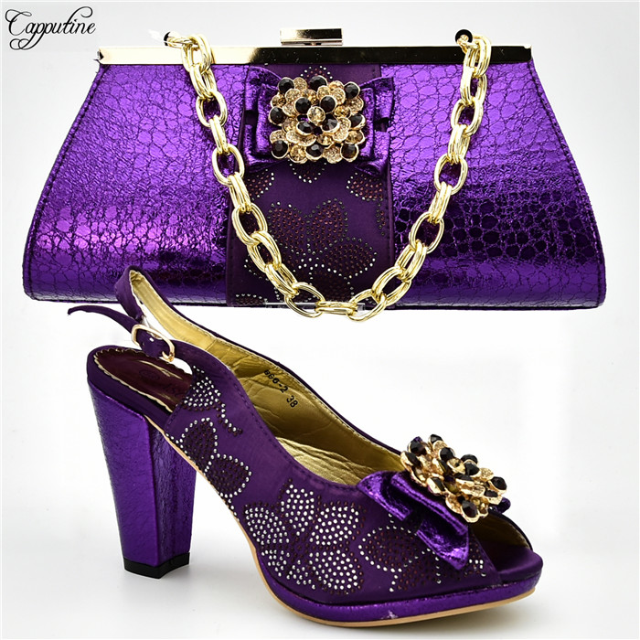 Charming purple African high heel shoes matching with handbag set for lady 666-2. many color, heel height 10cmCharming purple African high heel shoes matching with handbag set for lady 666-2. many color, heel height 10cm