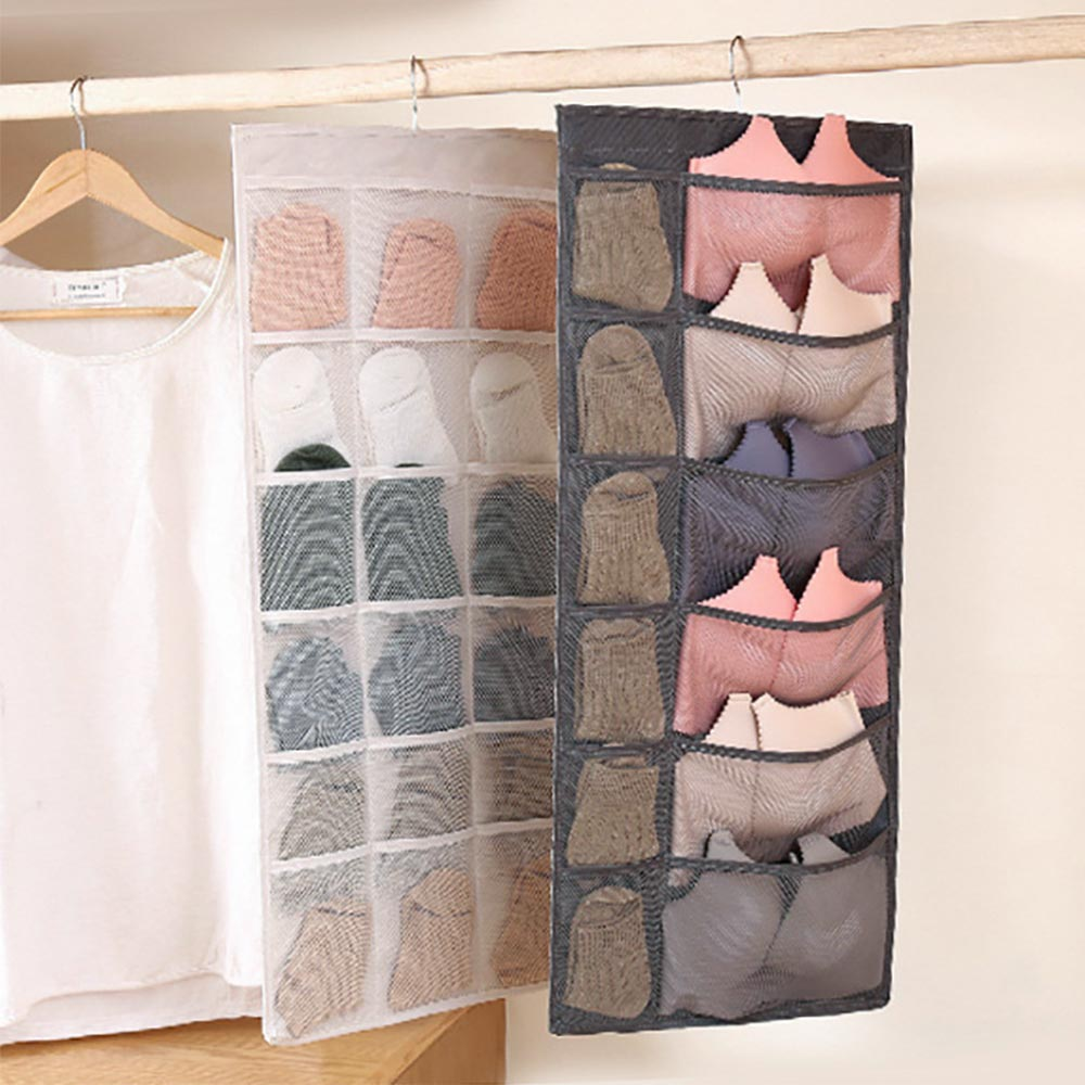 New wall hanging storage bag wardrobe organizer double side underwear bra socks sorting bag bedroom hanging storage pouch in Storage Bags from Home Garden