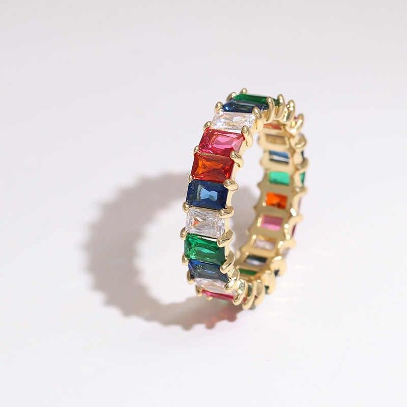 คุณภาพสูงคลาสสิก Rainbow Cubic Zircon งานแต่งงานแหวนเงินทองสีออสเตรียคริสตัล CZ แหวน 2019