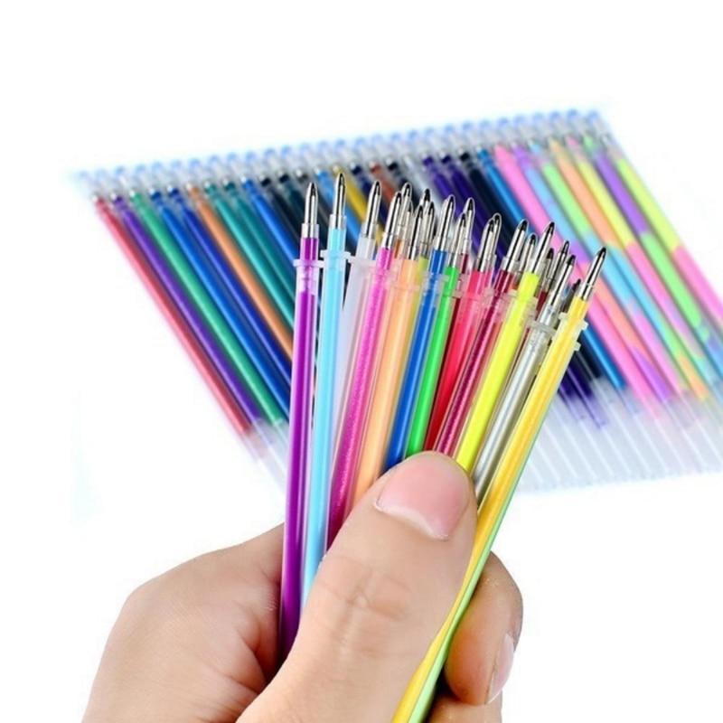 New 24/48Pcs Gel Pencils Multi Colored Core Bag Set