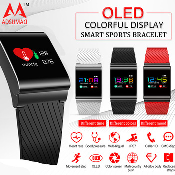 ADSUMAD x9-pro deportes reloj de pulsera inteligente pulsera pasómetro rastreador de Fitness de presión arterial pantalla LED IP67